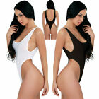 US Women Lingerie Backless See-through Thong Leotard Bodysuit High Cut Swimsuit