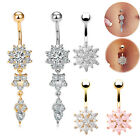 Belly Bars Navel Crystal Drop Button Ring Body Piercing Jewellery Surgical Steel