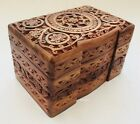 Hand Carved Wooden Floral Jewellery Storage Organiser Box Case Chest Holder