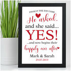 Personalised He Asked She Said Yes Engagement Gifts for Engaged Couples Fiance