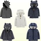 New Baby Boys Carters Sherpa Lined Hood Quilted Jacket 3D Ears or Dino Striped