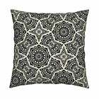 Black And White Damask Art Deco Throw Pillow Cover w Optional Insert by Roostery