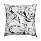 Black Black  White Marbled Throw Pillow Cover w Optional Insert by Roostery
