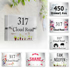 Personalized DIY House Number Signs Frosted Glass Villa Street Door Name Plaque