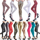Women Latex Leggings PVC PU Leather Skinny Leather Ankle-length Stretchy Pant Oa