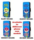 Shark pattern Smile phone case baby mommy daddy design flip faux leather case