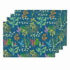 Cloth Placemats Palm Trees Bird Of Paradise Tropical Floral Beach Set of 4