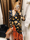 Women Bohemian Floral Print Wrap Stitching Ruffles Lacing up Waist Split DRESS