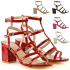 Womens Strappy Ankle Strap Sandals Ladies Block Mid Low Heel Buckle Shoes Size
