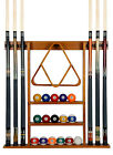 Cue Rack Only- 6 Pool Billiard Stick + Ball Set Wall Rack Holder Choose Mahogany