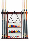 Cue Rack Only- 6 Pool Billiard Stick + Ball Set Wall Rack Holder