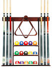 Cue Rack Only- 6 Pool Billiard Stick + Ball Set Wall Rack Holder Choose Mahogany $42.45 USD on eBay