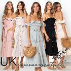 UK Womens Ladies Backless Off Shoulder Button Belted Summer Midi Dress 6 - 14
