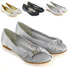 Womens Slip On Bridal Shoes Ladies Diamante Booch Satin Party Prom Ballet Pumps