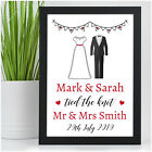 Wedding Day Gifts PERSONALISED Bride and Groom Mr and Mrs Tied The Knot Keepsake