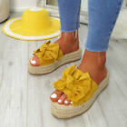 WOMENS LADIES BOW FLATFORM SLIP ON SANDALS WEDGE PLATFORM ESPADRILLE SHOES SIZE