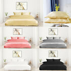 Collection 3-piece Bridal Satin Silk Solid Color Duvet Quilt Cover Bedding Set image