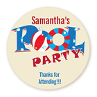 Pool Party - Round Personalized Birthday Party Sticker Labels - 8 sizes $4.25 USD on eBay