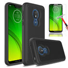 For Motorola Moto G7 Power/ Supra Hard Armor Phone Case + Glass Screen Protector