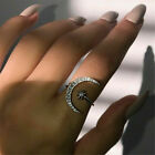 Women Crescent Moon And Tiny Star Adjustable Ring Jewelry Silver Gold Plated
