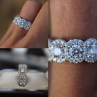 Women 925 Silver Plated Micro-inlaid White Topaz Zircon Ring Jewelry Size 6-10