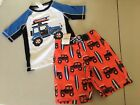 NWT Gymboree Boys Rash Guard Truck Swim trunk Swimsuit Set UPF 50