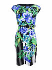 Connected Women's Petite Belted Floral-Print Sheath Dress