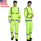 double layer Reflective Rain Jacket SET Suits Working Safety Clothing free pants