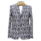 Elie Balleh Men's Cotton Blend Notched Paisley Pattern Sport Coat Blazer Navy