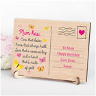 MUM MUMMY NANNY Personalised Birthday POEM Gifts for Her Wooden Keepsake Present