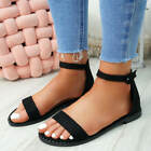WOMENS LADIES ANKLE STRAP FLAT SANDALS PEARL STUD PEEP TOE CASUAL SHOES SIZE