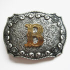 Men Initial Vintage Letters Rodeo Western Style Cowboy Belt Buckle  фото