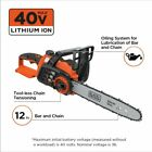 BLACK DECKER 40 Volt Cordless Chainsaw Clean Battery Powered Cutting Tool New