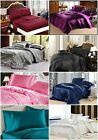 Soft California King Size Satin Sheet Set 4-pcs 2 Pillowcases Flat Fitted Cover image
