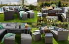 Grey Rattan Garden Furniture Sets Table Chairs Corner Sofa Free Cover