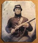 Unidentified Civil War Union Soldier with Musket RP tintype C1162RP