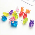 1 Pair Cute Cartoon Bear Stud Earrings Candy Color Resin Women Girls Jewelry image