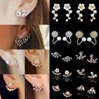 1pair Women Crystal Rhinestone Pearl Earrings Flower Leaf Ear Stud Jewellery New
