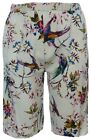 Ladies New Lightweight Pull On Shorts Floral Birds Print Elastic Waist Culottes