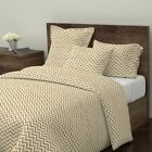 Glitter Chevron Geometric Gold Metallic Christmas Sateen Duvet Cover by Roostery image