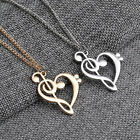 Hollow Heart Musical Note Pendant Necklace Clavicle Music Jewelry Gold&silver