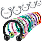 16g 20g Balls Circular Barbell Horseshoe Lip Nipple Septum Ring 6/8/10/12/14 Mm