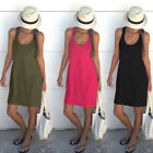 Womens Ladies Summer Cotton Vest Sleeveless Sundress Beach Loose Dress Tank Top