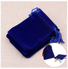 Small Blue Velvet Jewelry Gift Gold Silver Coin Favors Party String Bag Pouch