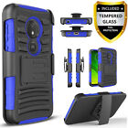 For Motorola Moto E5 Play Cruise E5 Plus Go Case, Belt+Tempered Glass Protector