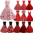 Plus Size Women 1950s Vintage Rockabilly Red Evening Prom Ball Swing Dress Party $14.89 USD on eBay