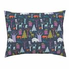 Woodland Winter Woodland At Night Beer, Deer, Trees, Pillow Sham by Roostery