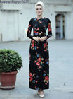 Dubai Print Cotton Dress Kaftan Muslim Floral Gown Jilbab Women Islam Abaya Robe