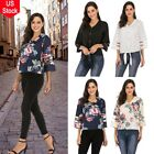 Fashion Ladies Printing V Neck Mesh Panel Blouse 3/4 Bell Sleeve Loose Top Shirt
