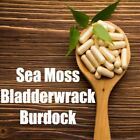 Sea Moss/Irish Moss and Bladderwrack Capsules PLUS Burdock 100 Organic Dr Sebi